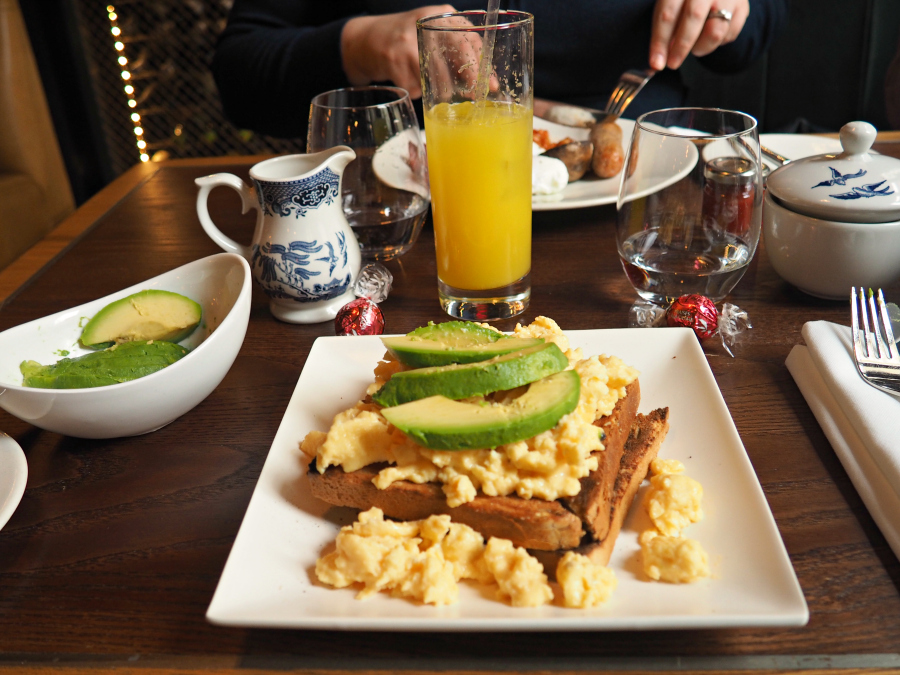 Breakfast brunch at Heddon Street Kitchen scrambled egg toast avocado food blogger