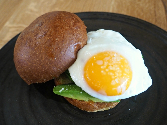 Avocado fried egg brioche burger bun The Henry Root food blogger