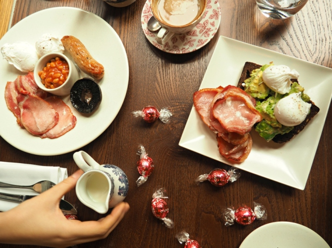 Galentines Day Brunch at Heddon Street Kitchen Eggs Avocado Tea Full English Breakfast