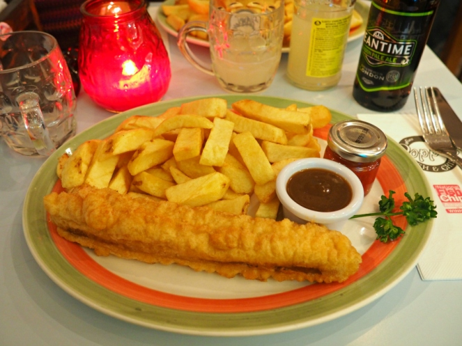 Poppies fish and chips battered sausage British seaside food blogger