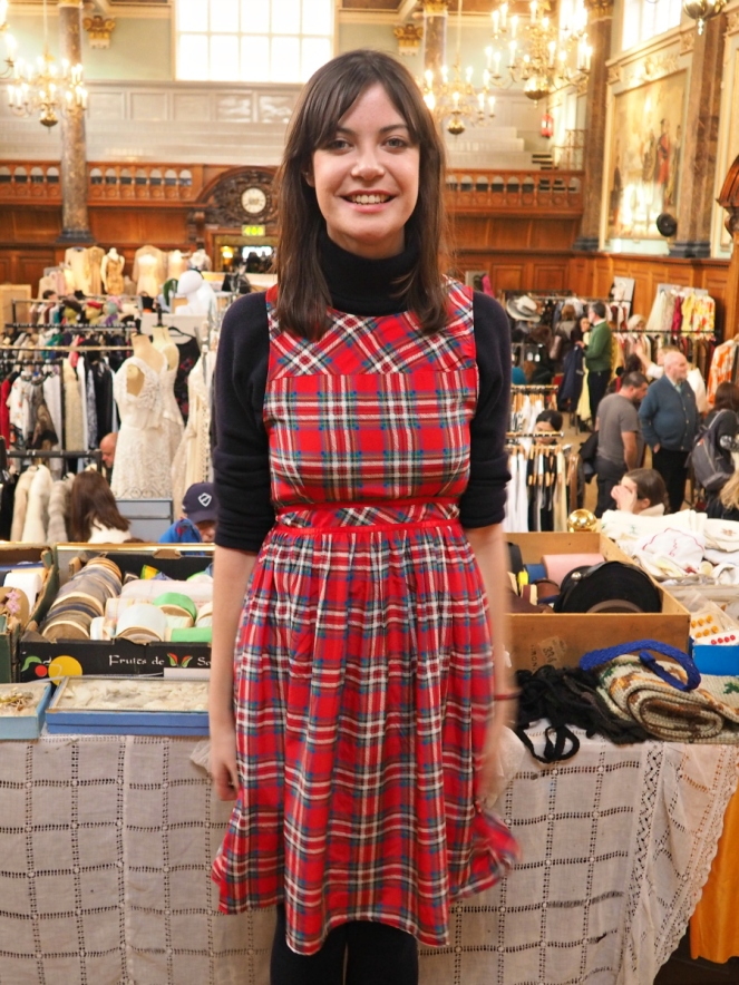 Vintage Fashion Blogger in red tartan pinafore dress at Frock Me Fair