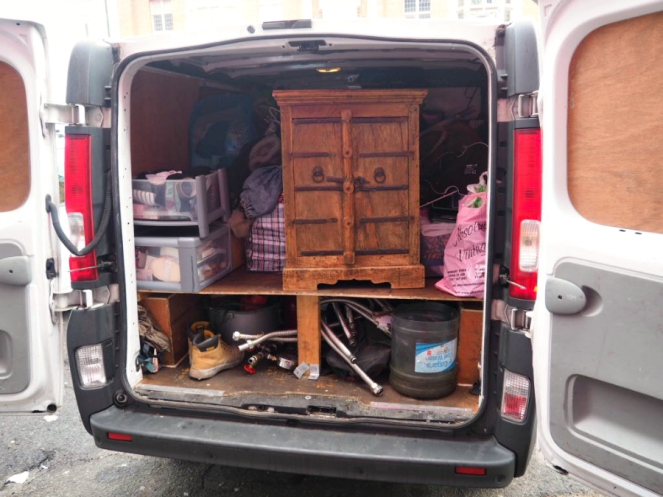Moving van packed up to move house home in London