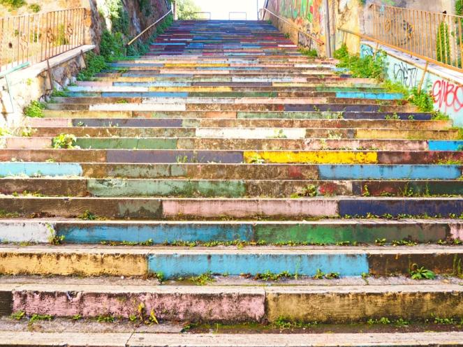 Bright Colourful Steps in Rome Italy, Travel Blogger