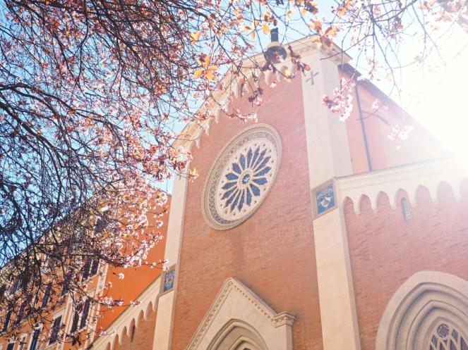 Italian Church Blossoms in Rome Italy, Travel Blogger