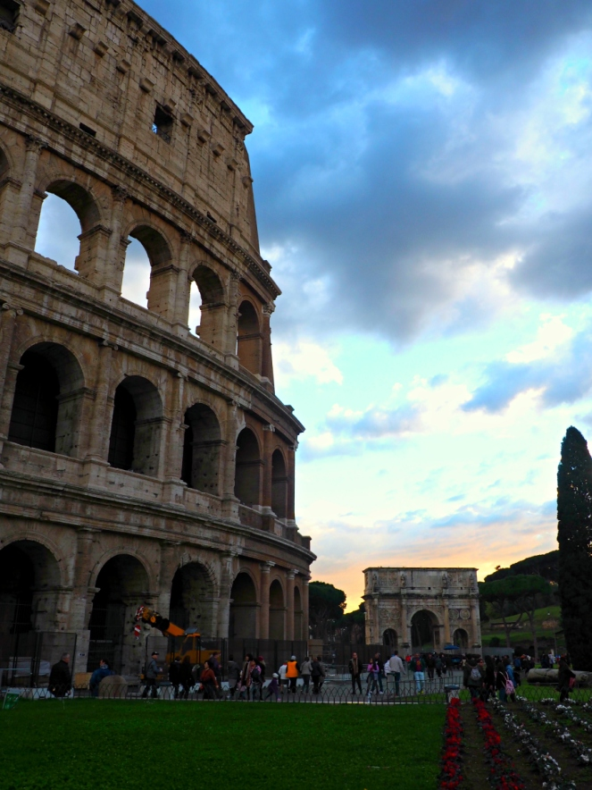 Colosseum at Sunset Roman Ruin Rome Italy Travel Blogger