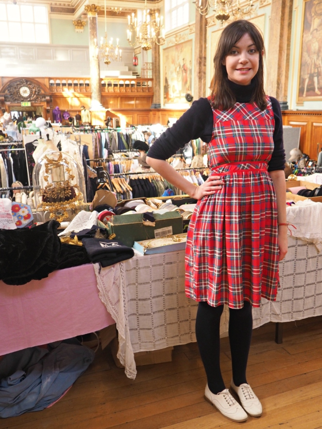 Fashion blogger at FrockMe vintage fair wearing tartan dress