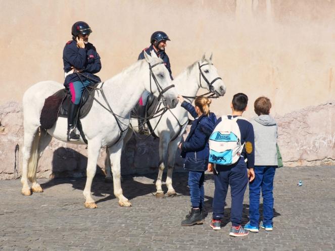 Italian Police on Horses in Rome Italy, Travel Blogger