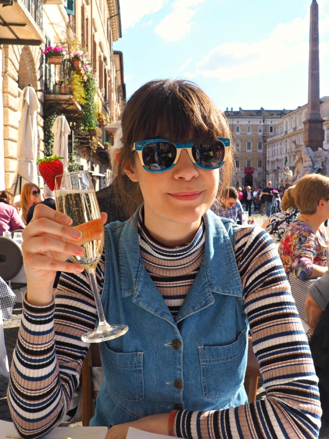 Prosecco in the Sunshine in Rome Italy, Travel Blogger