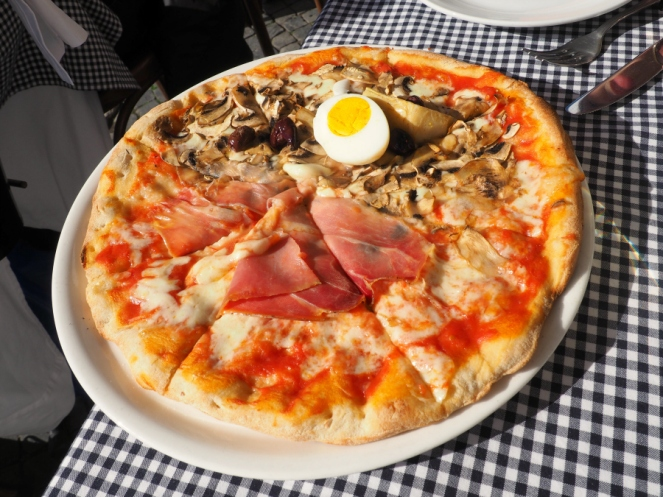 Ham and Mushroom Pizza in Rome Italy, Travel Blogger