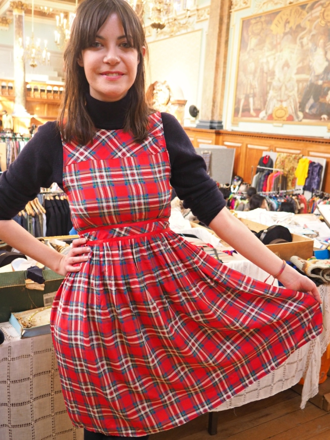 Vintage red tartan dress at Frock Me fair Chelsea London fashion blogger