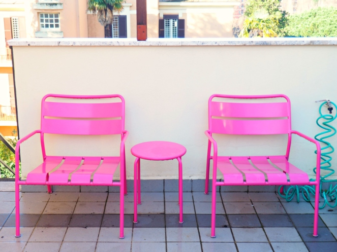 Pink Barbie Garden Chairs Ars Hotel Rome Italy, Travel Blogger