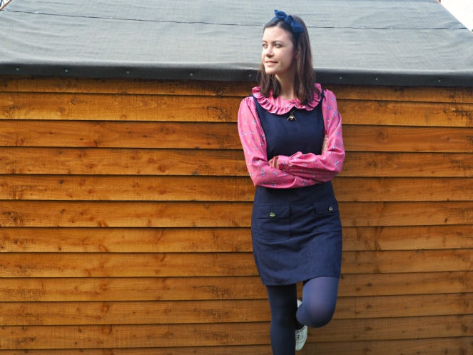 Blue Suede Pinafore Outfit of the Day OOTD London Fashion Blogger