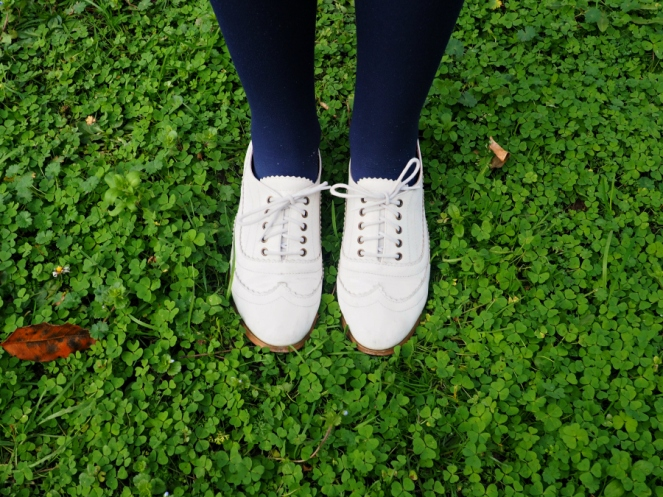 White Brouges Shoes Outfit of the Day OOTD London Fashion Blogger