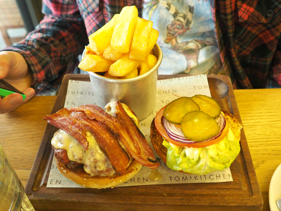Tom's Kitchen St Katherines Dock Burger with bacon Brunch London Food Blogger