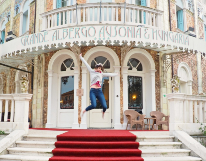 Travel Blogger in Venice, Italy Grande Albergo Ausonia and Hungaria Palace Hotel Lido Island