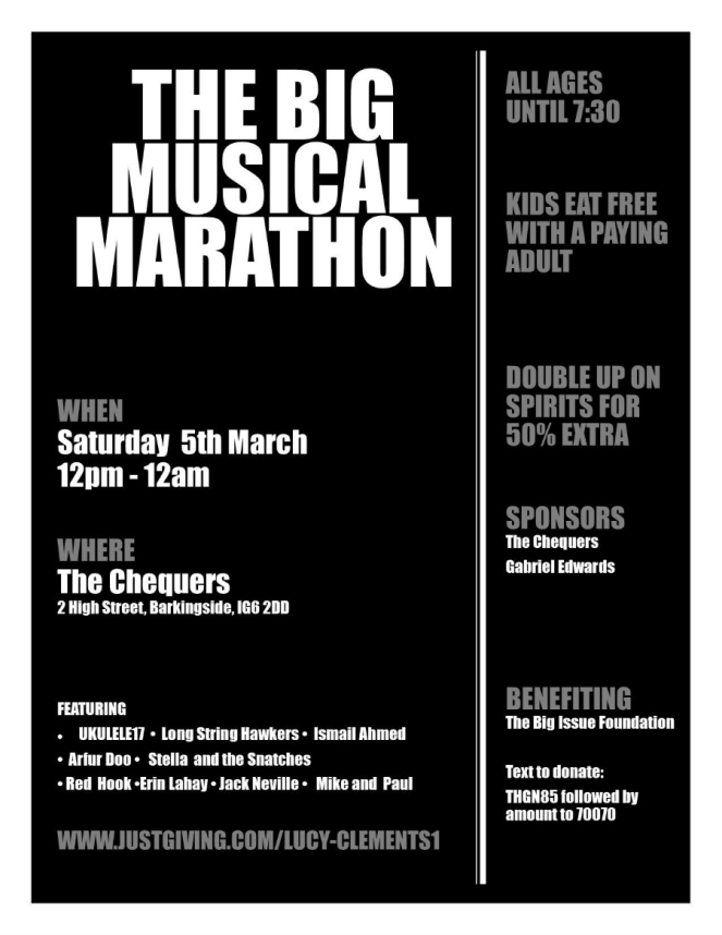 The Big Musical Marathon Gig for Big Issue Foundation Charity London Music Blogger