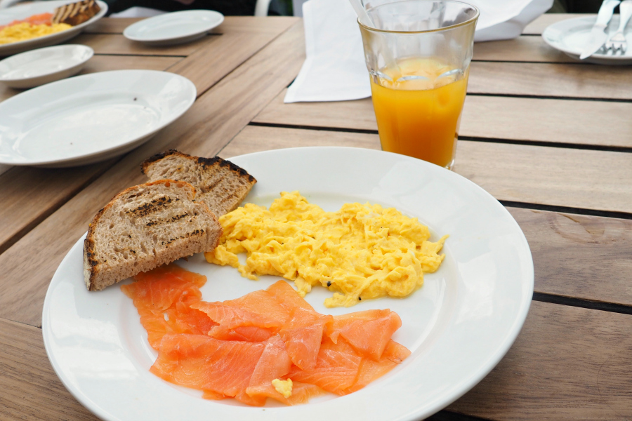 Scrambled Egg and Salmon at the Blogger Breakfast with Farfetch at Boundary Rooftop in East London