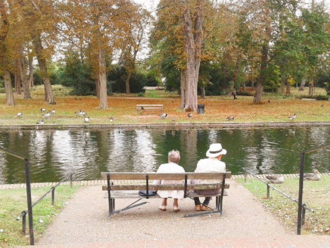Valentine's Park Love Cute Old Couple London