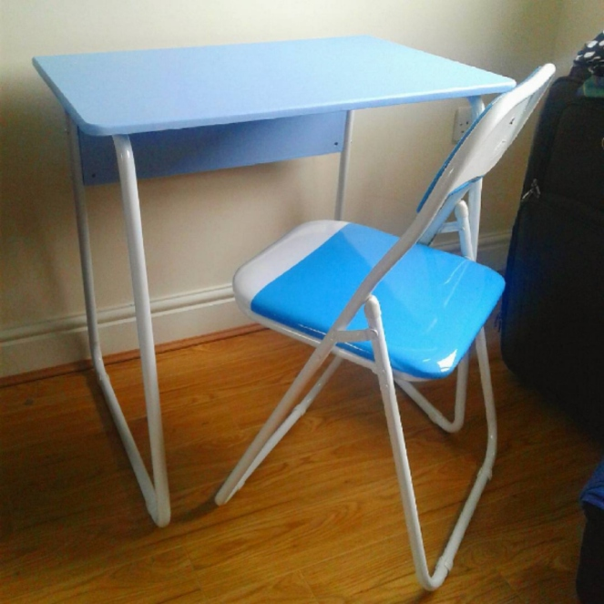 New Blue Desk and Chair Blogger at Home