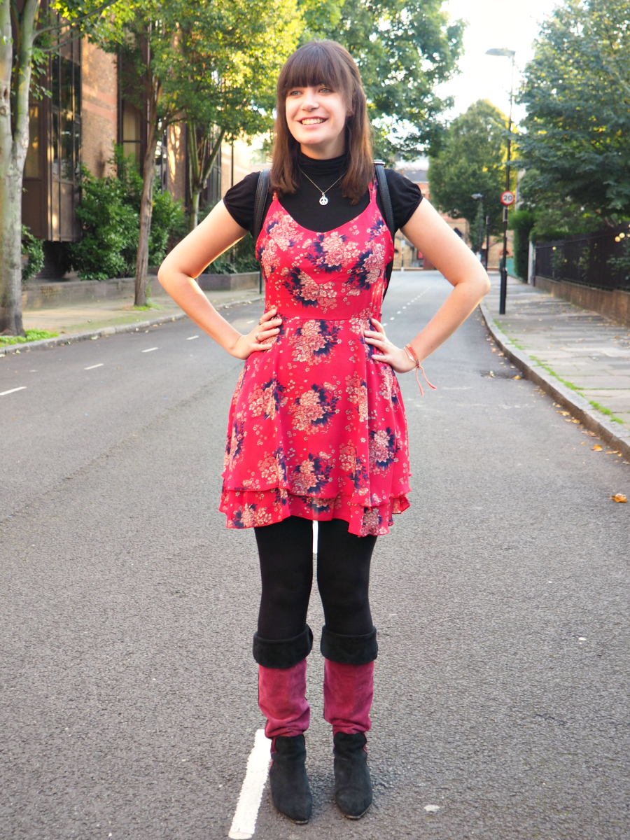 Pink Dress Autumn Outfit of the Day London Fashion Blog Blogger