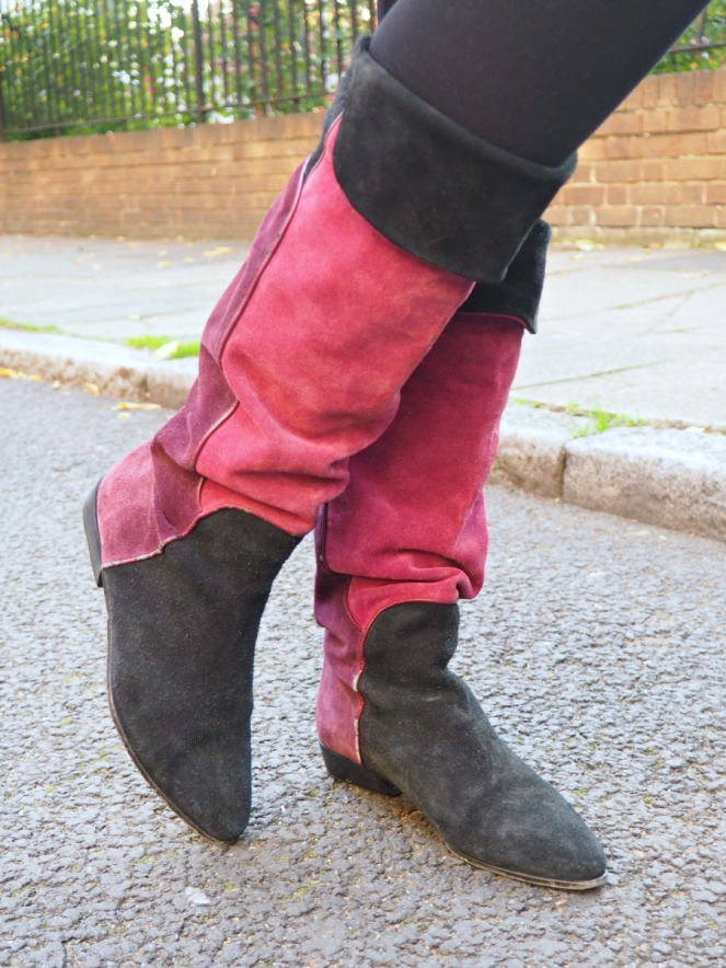 Pink Vintage Suede Boots Autumn Outfit of the Day London Fashion Blog Blogger