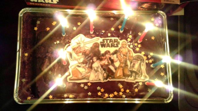 Chocolate Star Wars Birthday Cake Lightsaber Candles