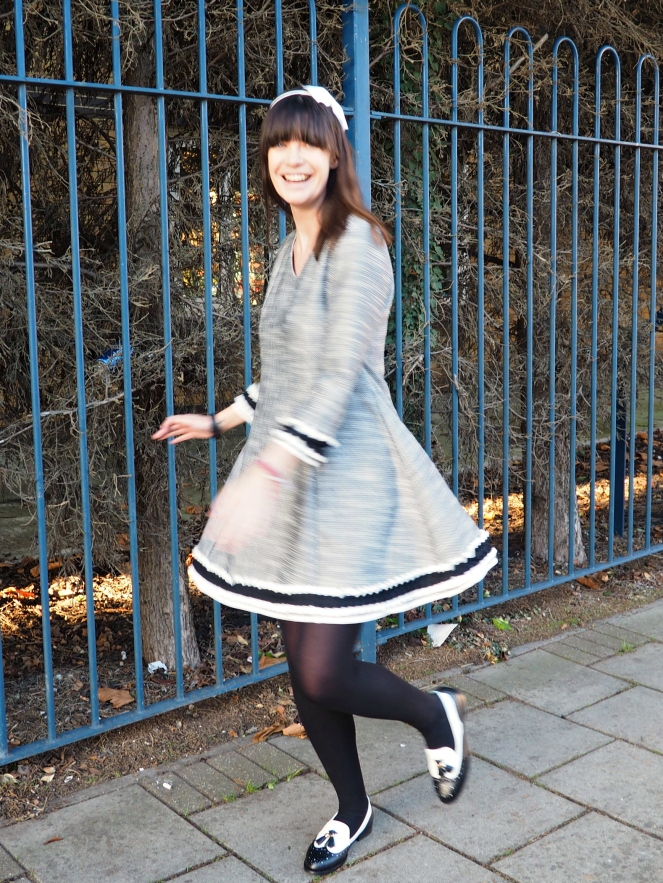 Zaful Grey Tweed Skater Dress Frill Trim Outfit of the Day OOTD Fashion Blog Blogger