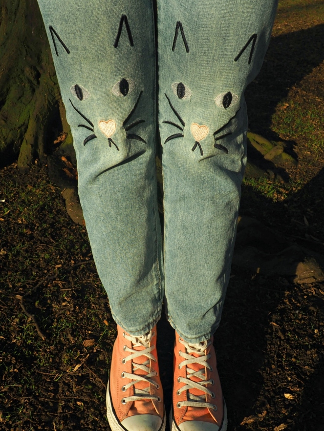 Gamiss Cat Face Denim Jeans OOTD Outfit Fashion Blog Blogger