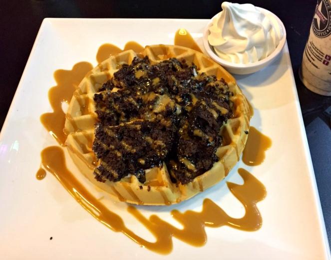 Hot Fudge Mess Chocolate Brownie on Waffle at Creams Gants Hill Food Blog Blogger