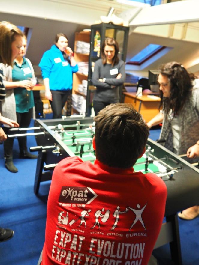 Expat Explore London Office Foosball Championship Tornament Games Night