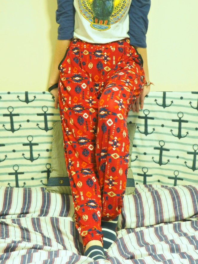 Blue Vanilla Sale Red Patterned Trousers Pants Fashion Blog Blogger